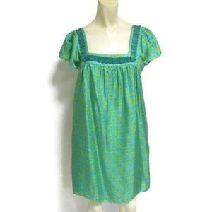 Milly of New York Green Print Silk Shift Dress 4